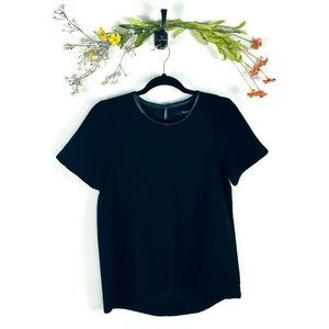 Madewell | Leather Collared Top Black Size Small